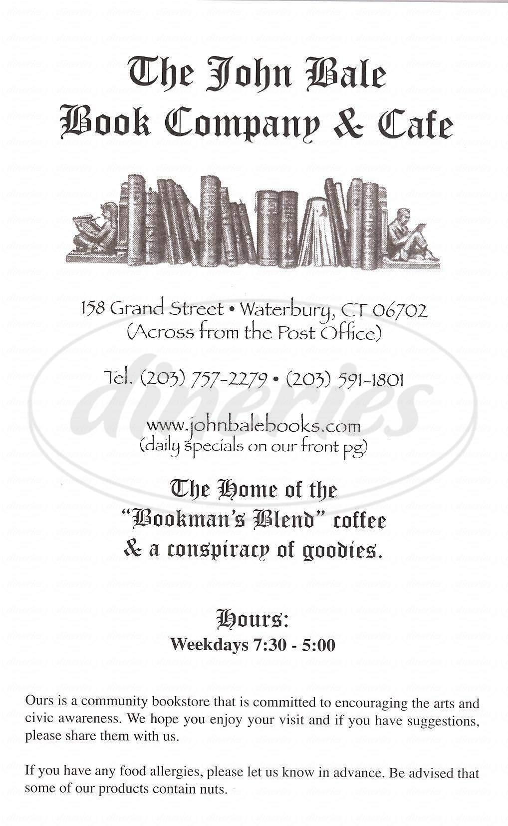 menu for The John Bale Book Company