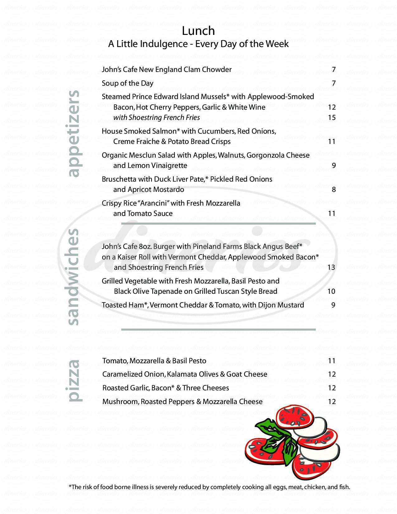 menu for John's Cafe