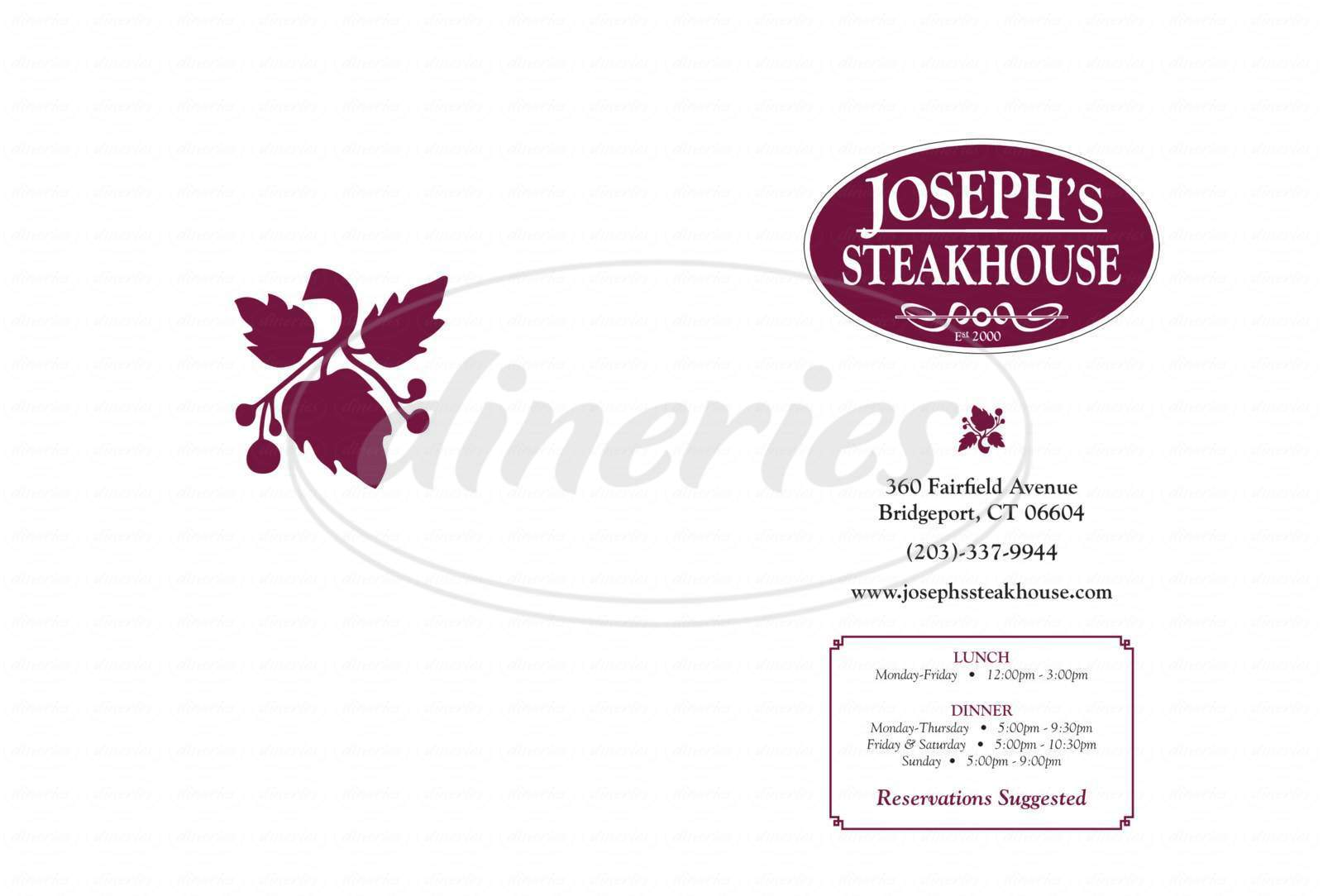 menu for Joseph's Steakhouse