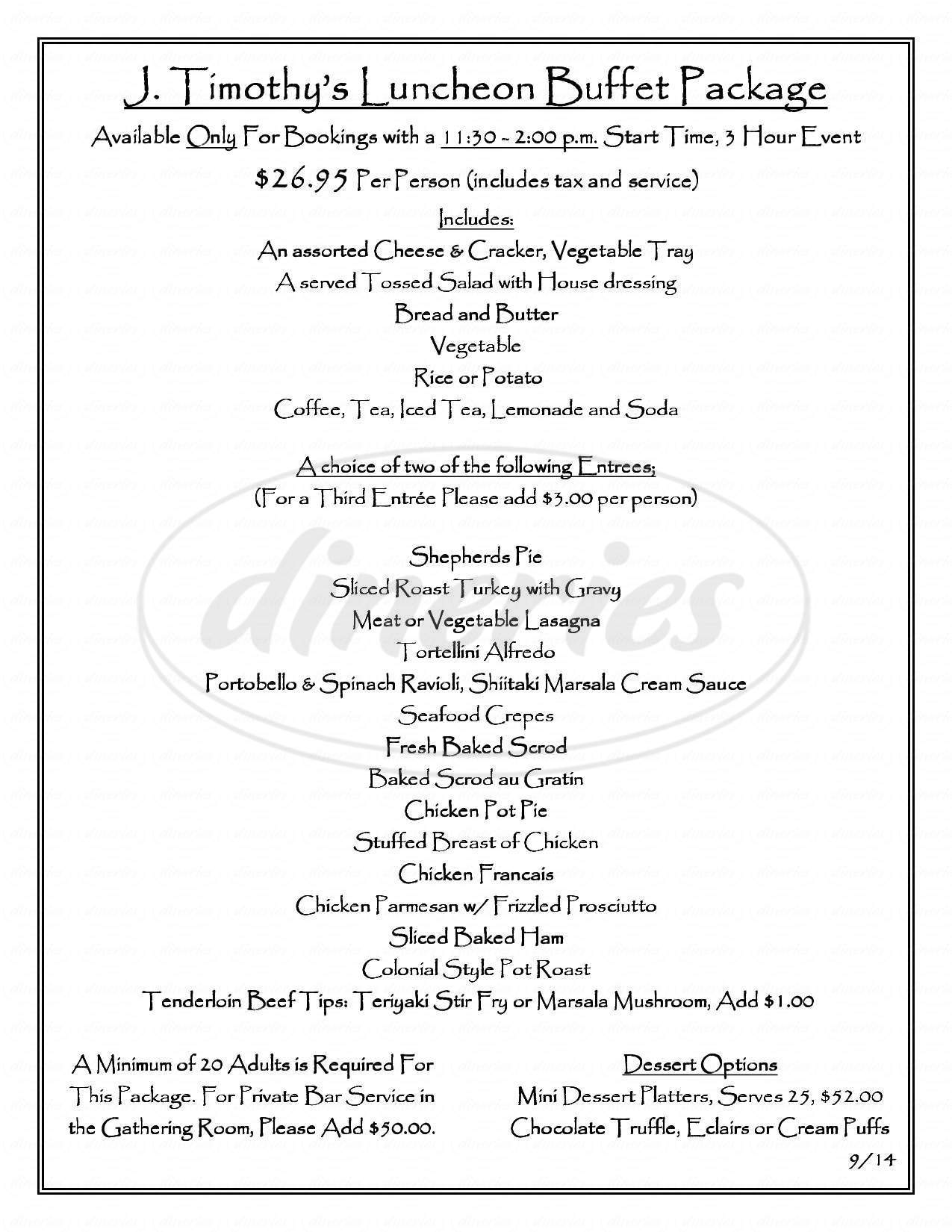 menu for J Timothy's Taverne