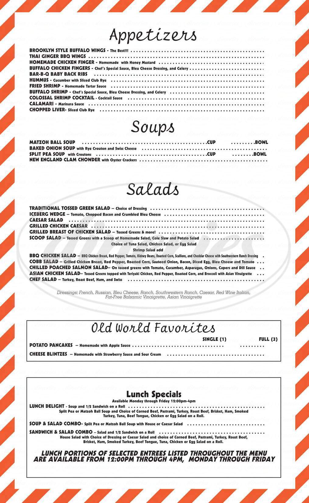 menu for Junior's Restaurant