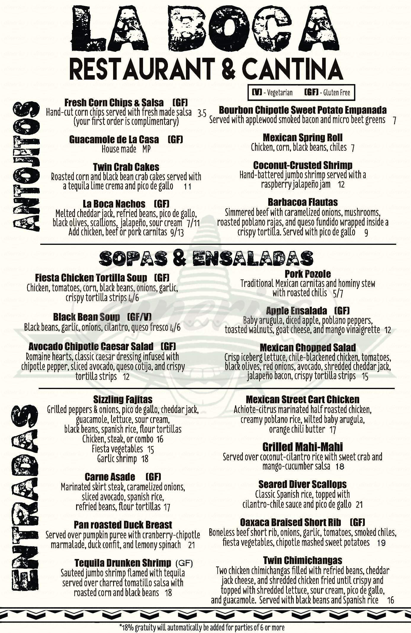menu for La Boca Mexican Restaurant & Cantina