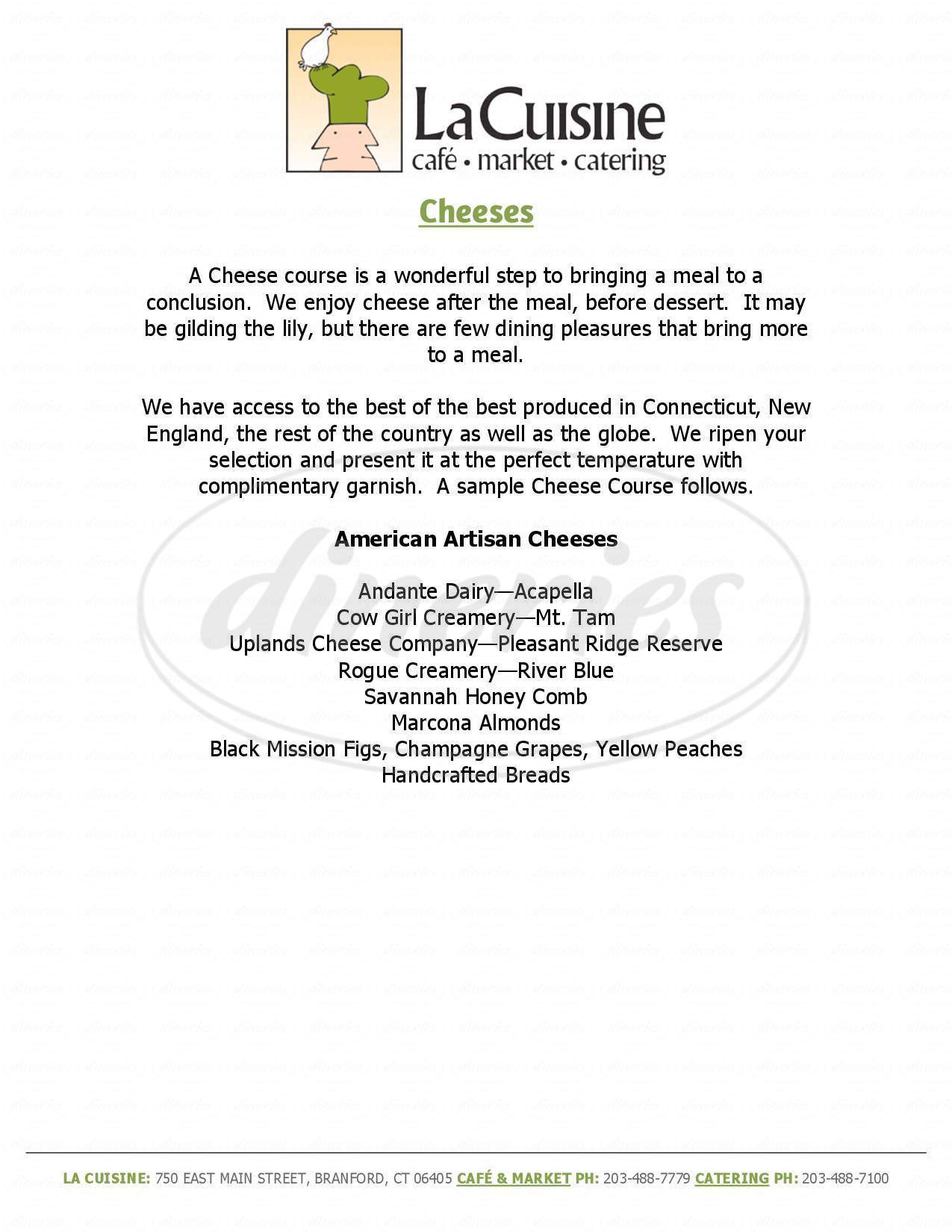 menu for La Cuisine Cafe, Market, And Catering