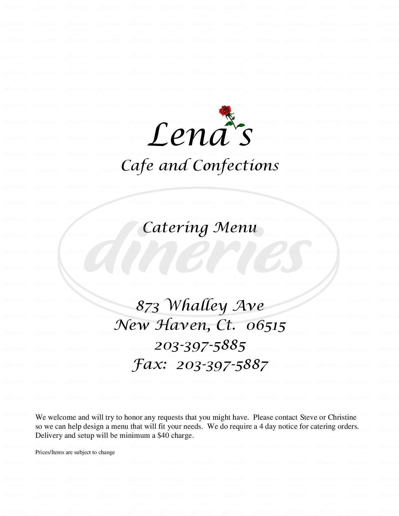 menu for Lena's Cafe & Confections