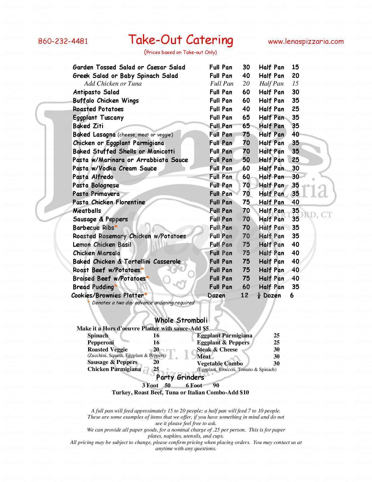 menu for Lena's First & Last Pizzeria