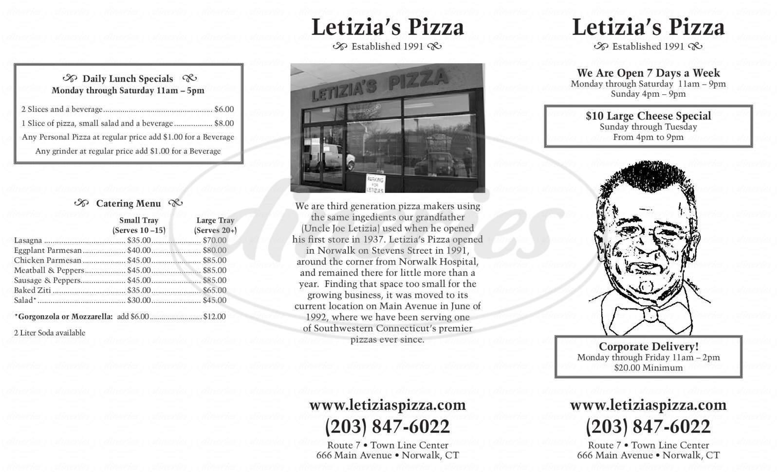 menu for Letizia's Pizza I