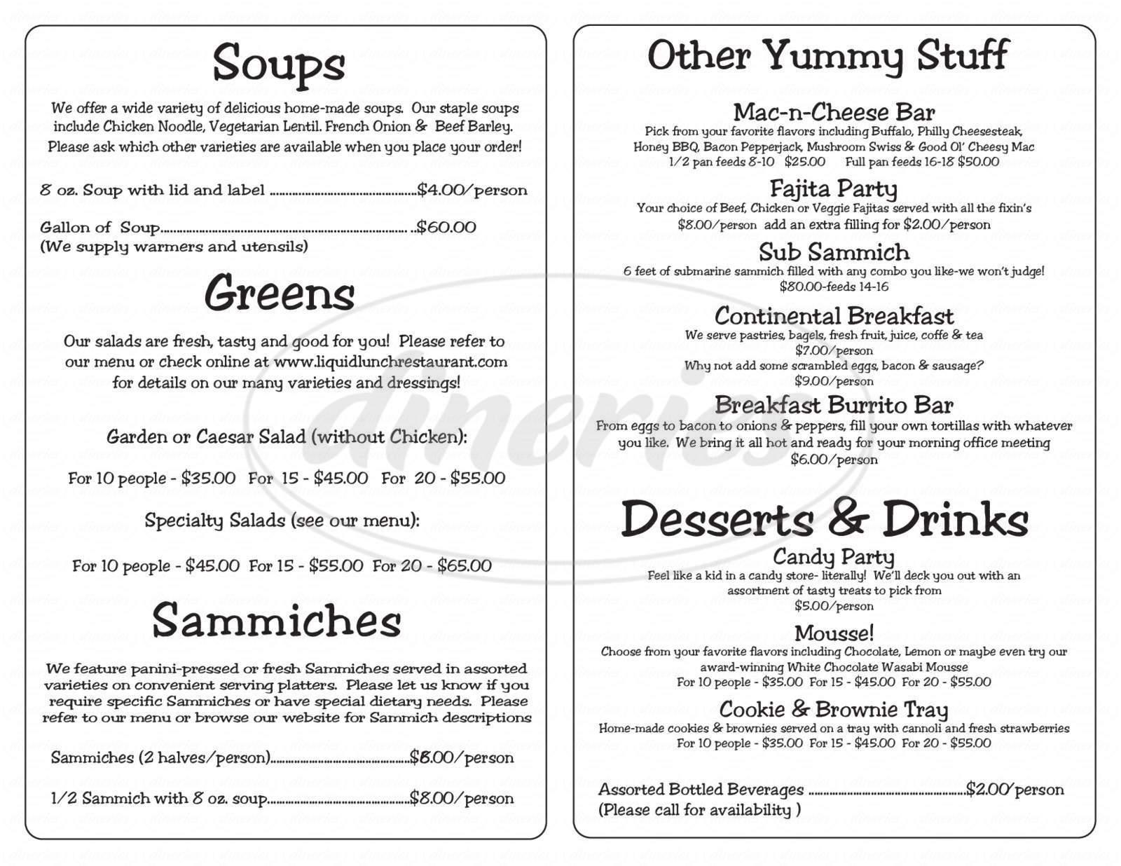 menu for Liquid Lunch