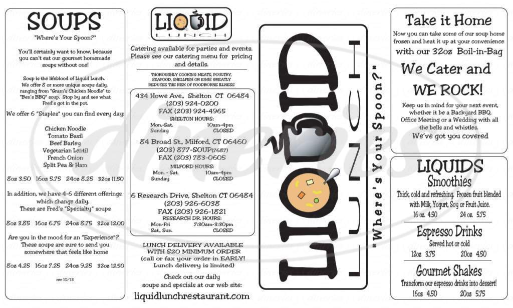 menu for Liquid Lunch