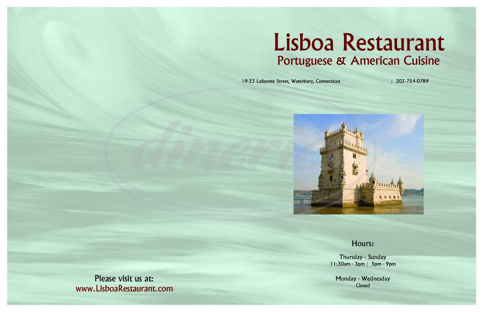 menu for Lisboa Restaurante