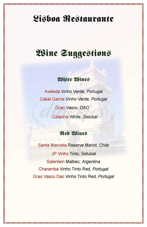 menu for Lisboa Restaurante