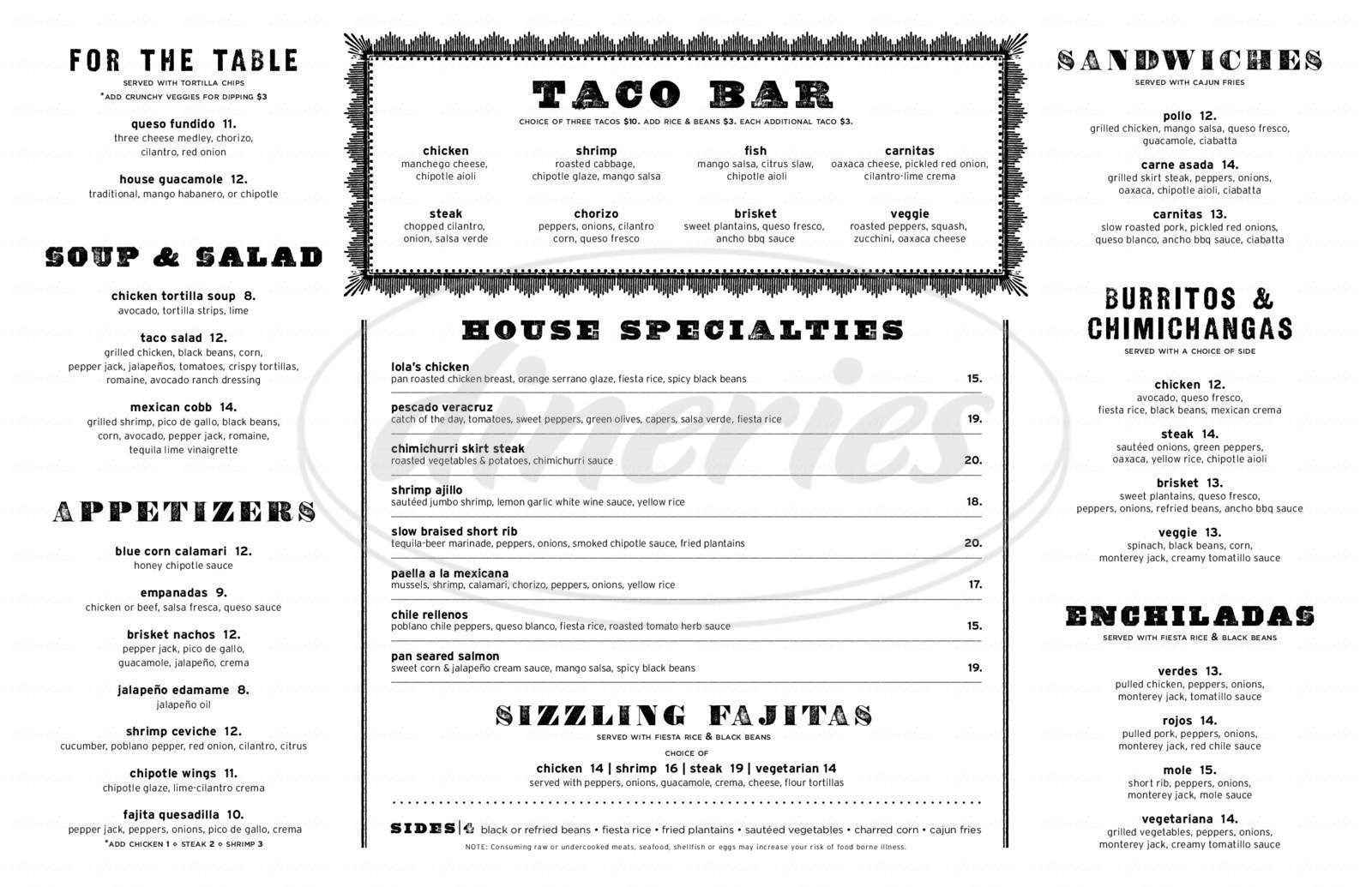 menu for Lola's Mexican Restaurant