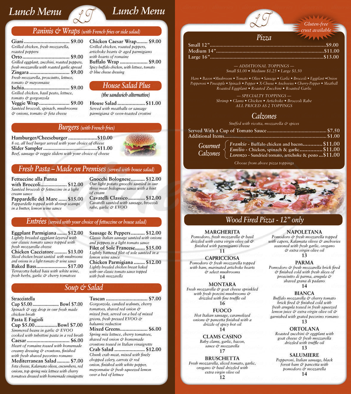 menu for Lombardi's Trattoria