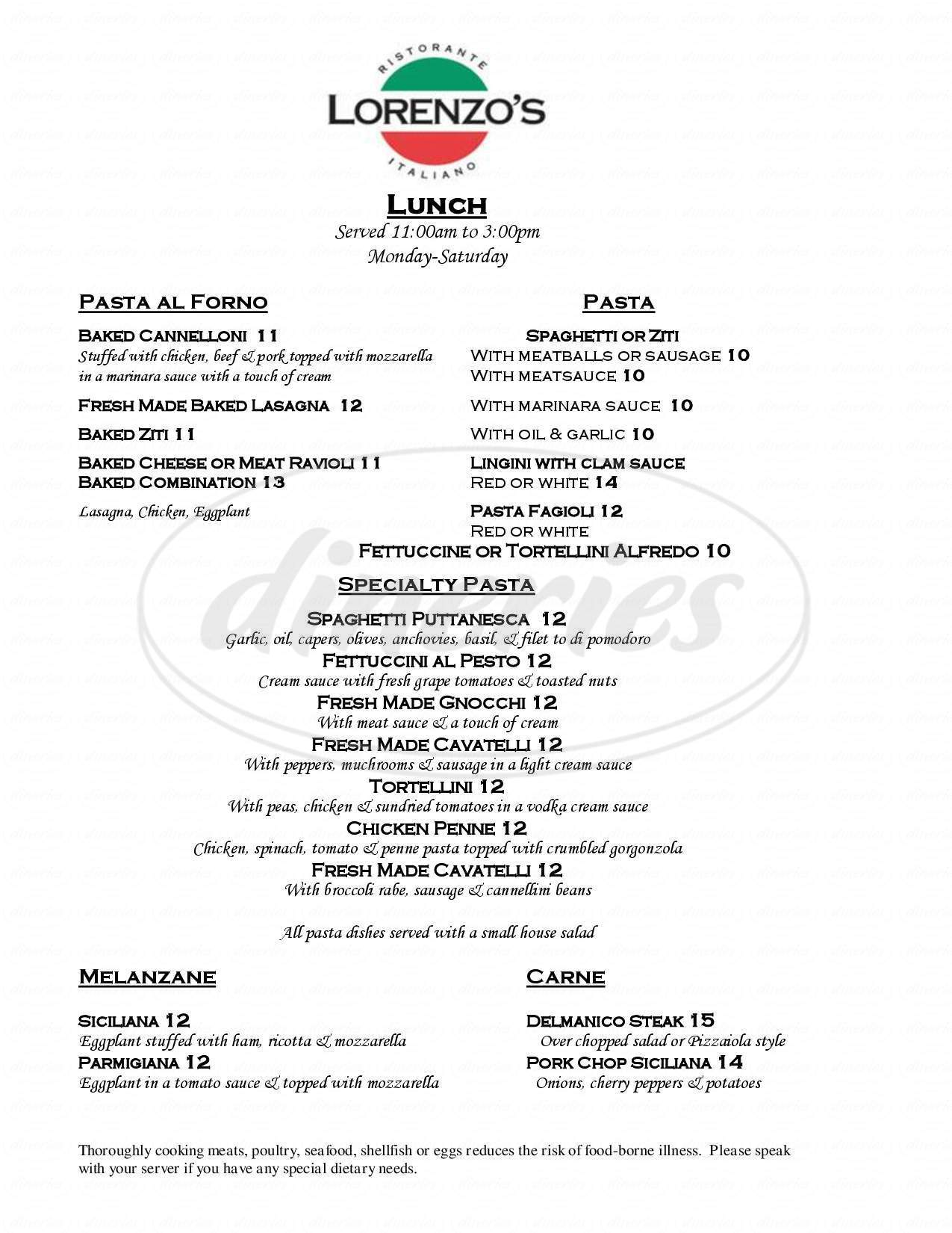 menu for Lorenzo's Ristorante Italiano