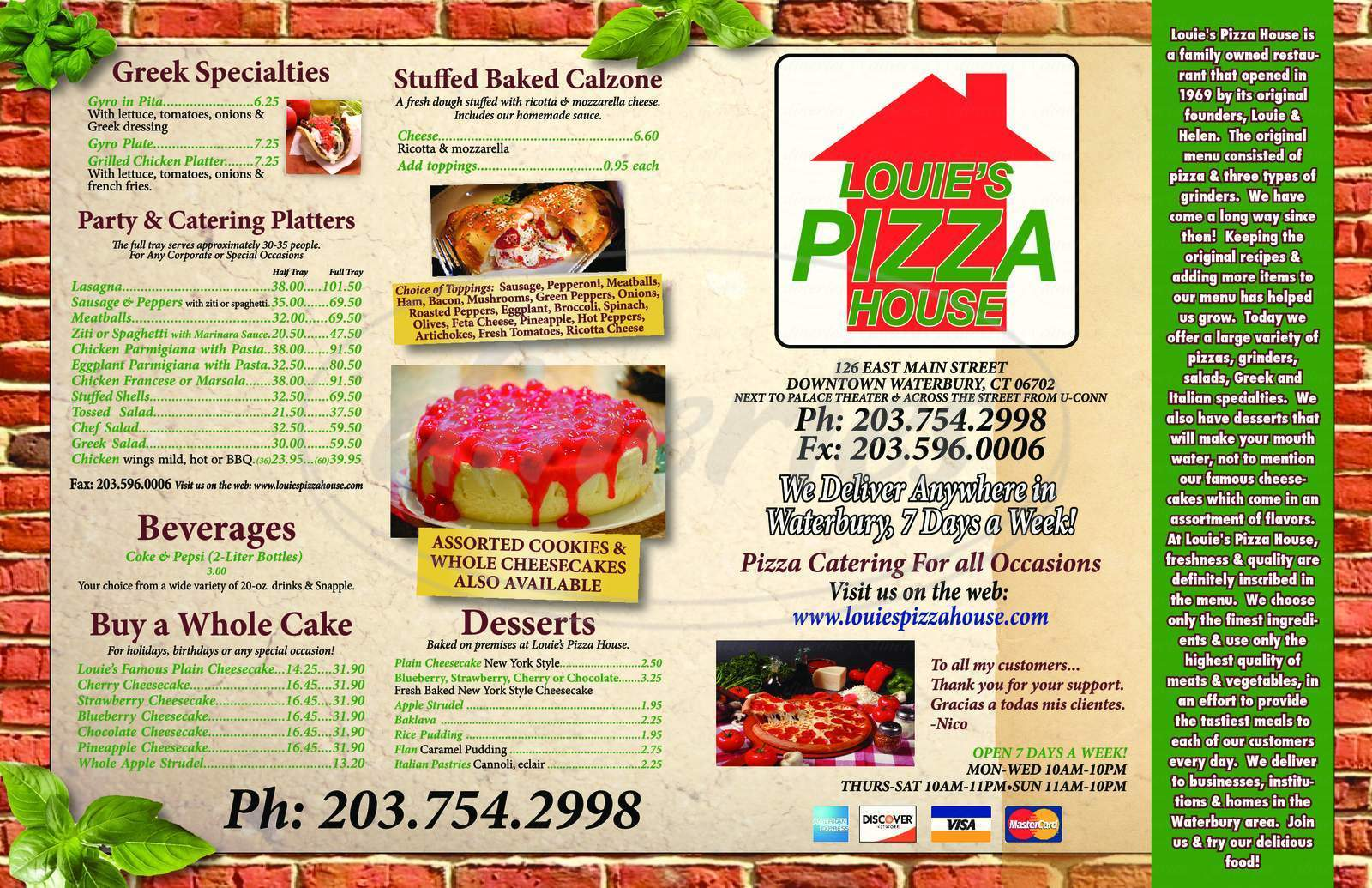 menu for Louie's Pizza House