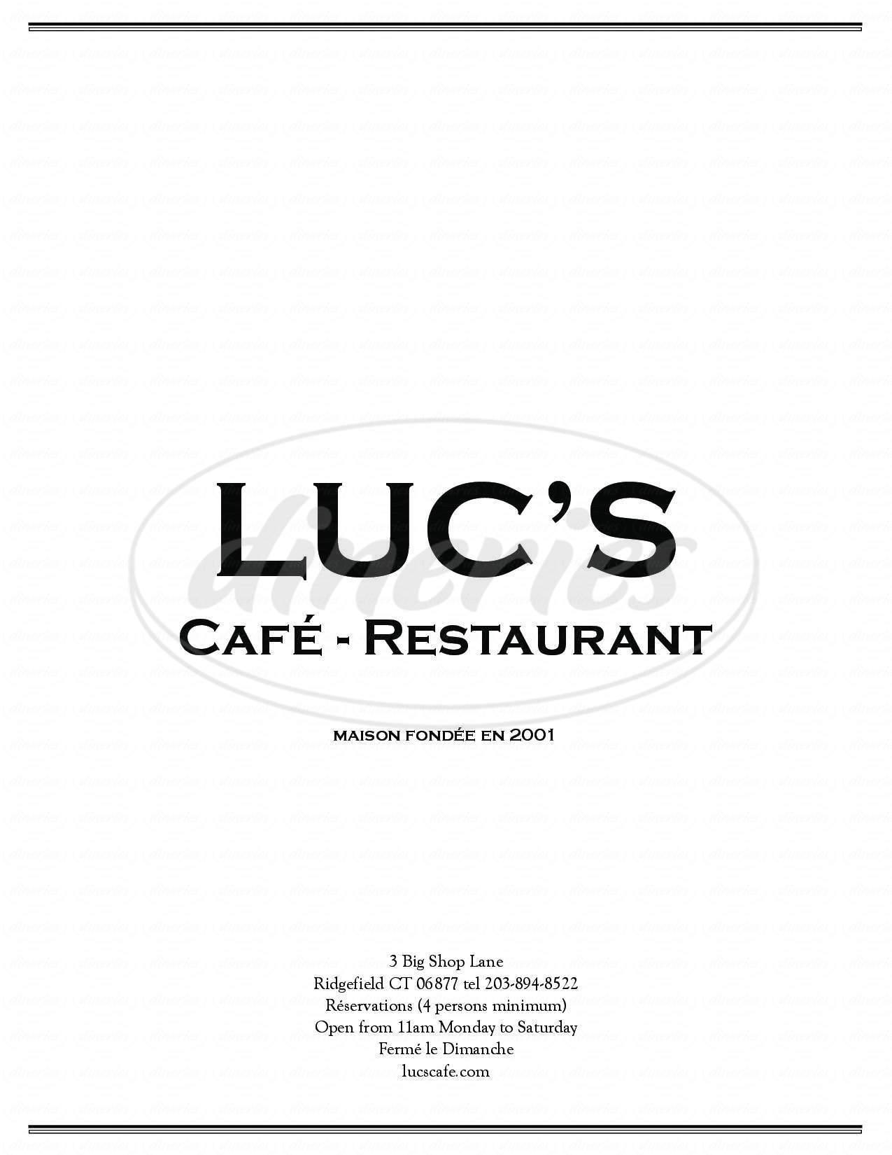 menu for Luc's Cafe & Restaurant