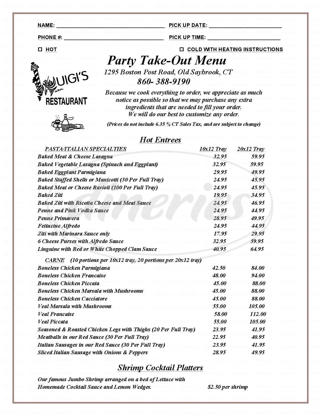 menu for Luigi's Restaurant