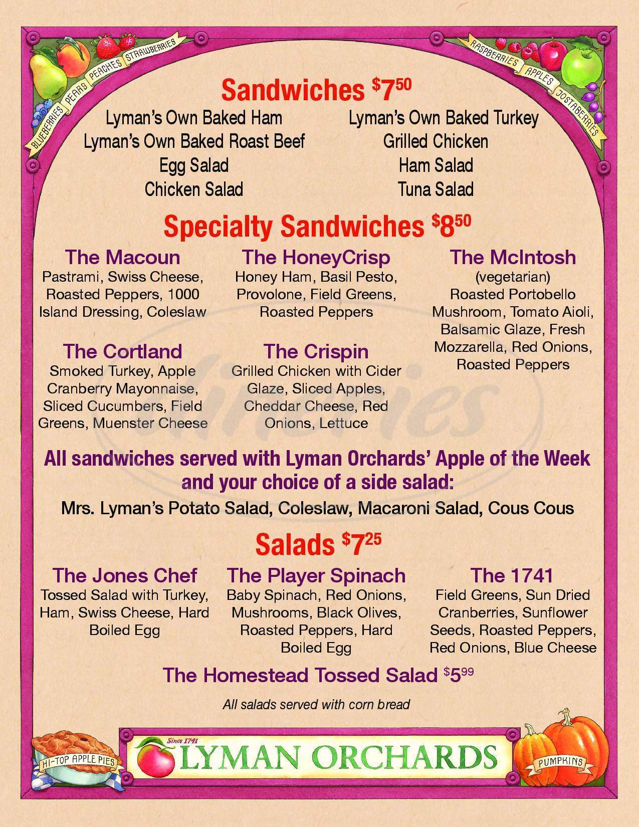 menu for Lyman Orchards