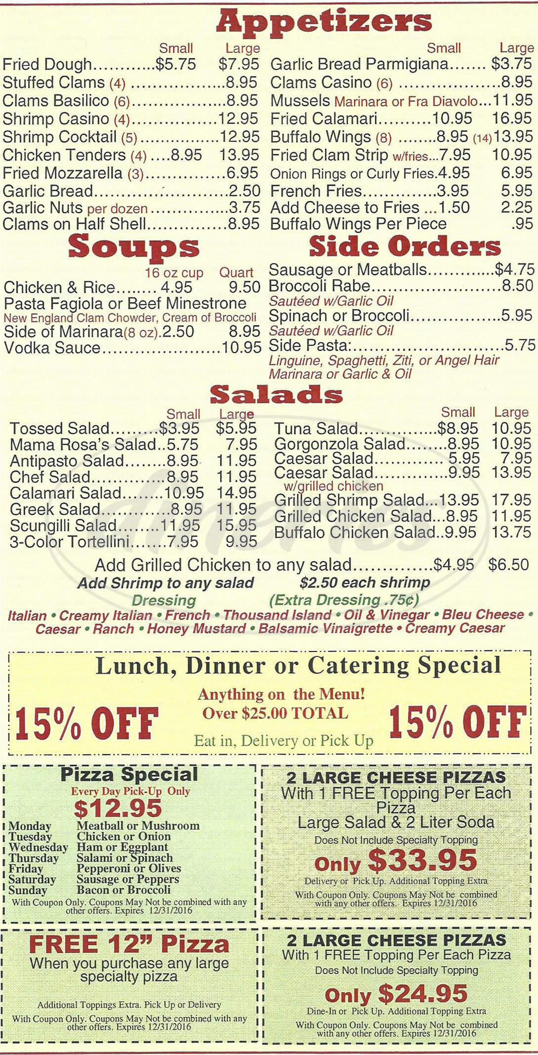 menu for Mama Rosa's