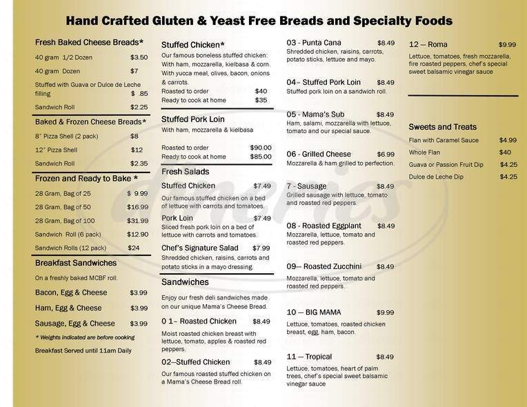 menu for Mama's Cheese Bread Factory
