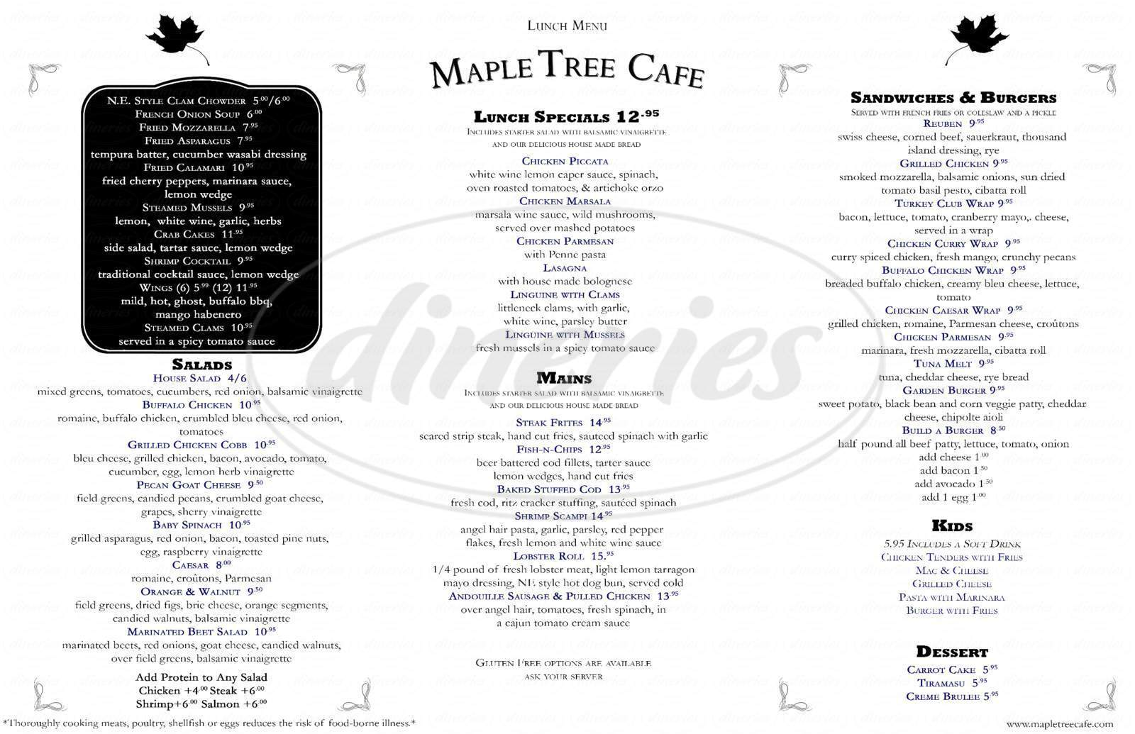 menu for Maple Tree Cafe
