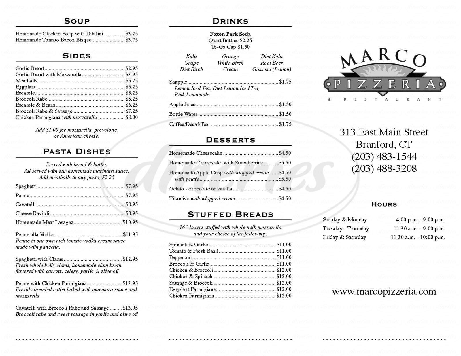 menu for Marco's Pizzeria