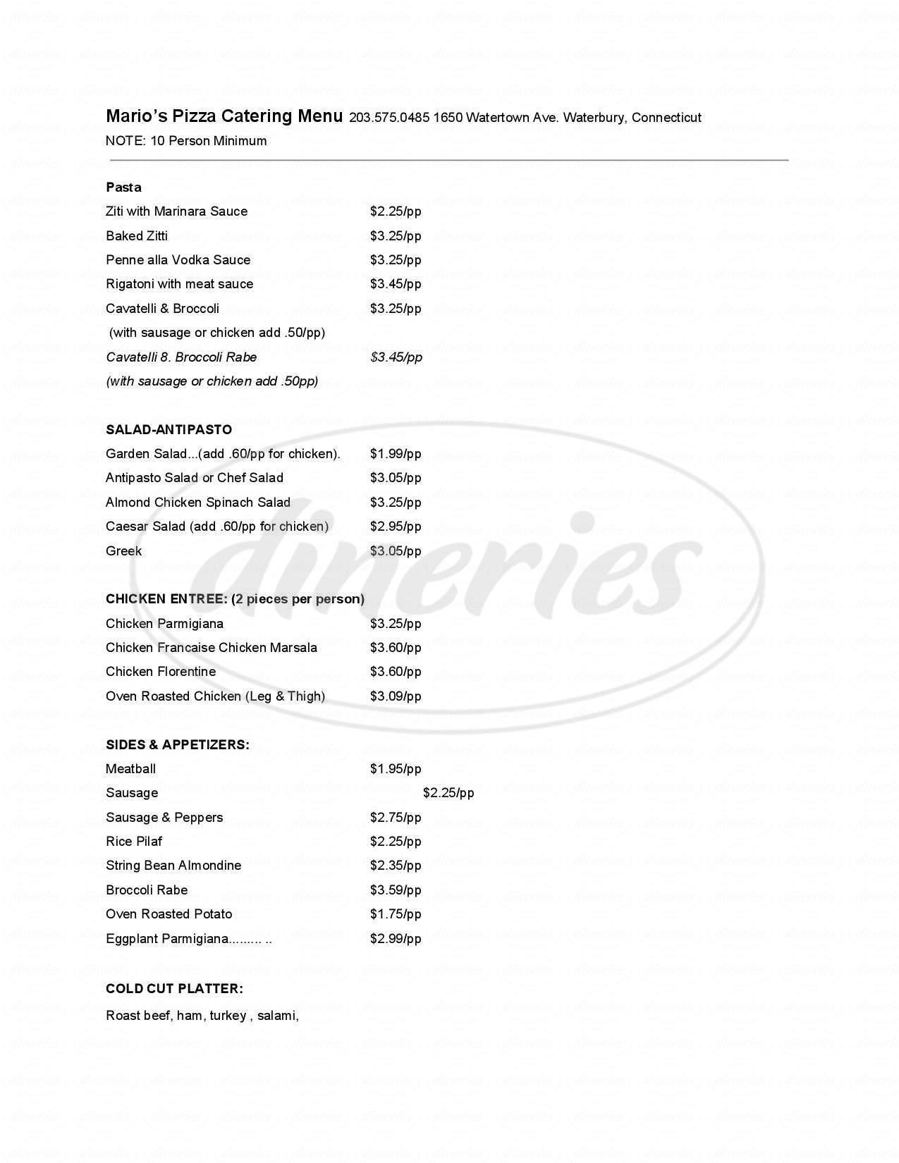 menu for Mario's Pizza Italian Restaurant