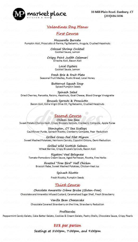 menu for Market Place Kitchen and Bar
