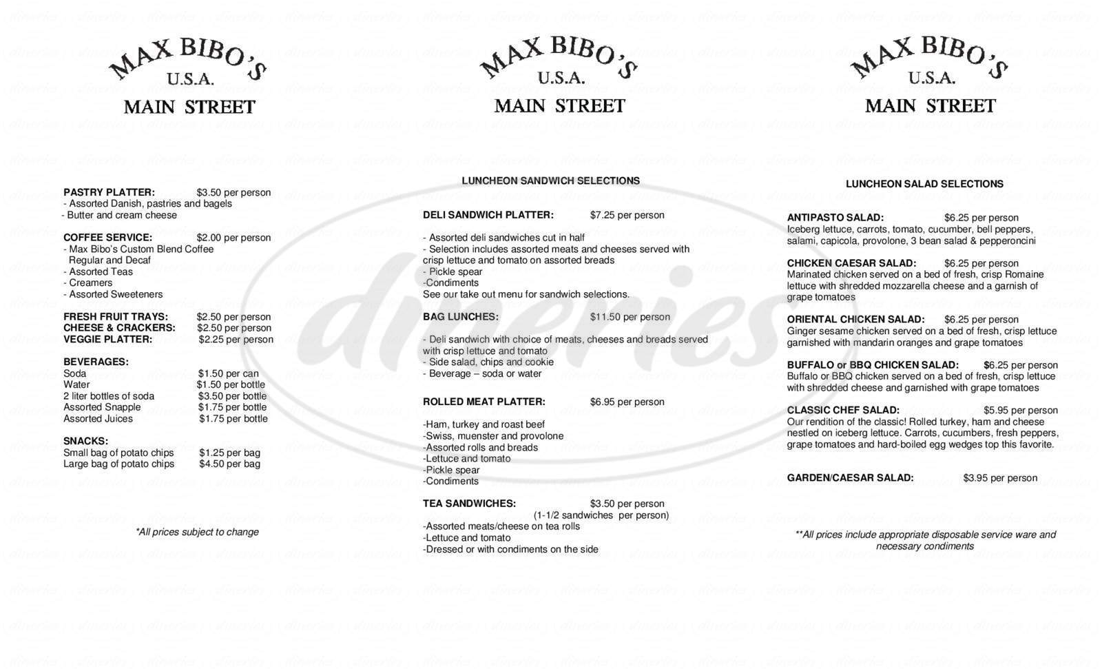 menu for Max Bibo's