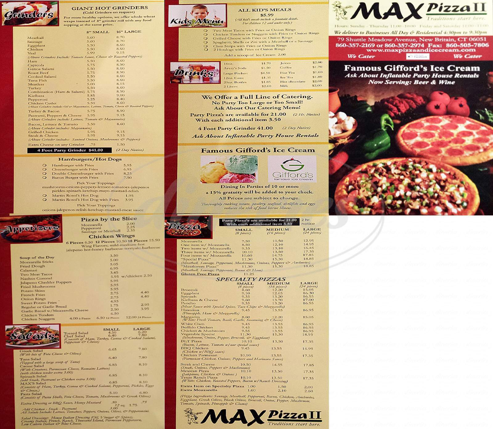 menu for Max Pizza II