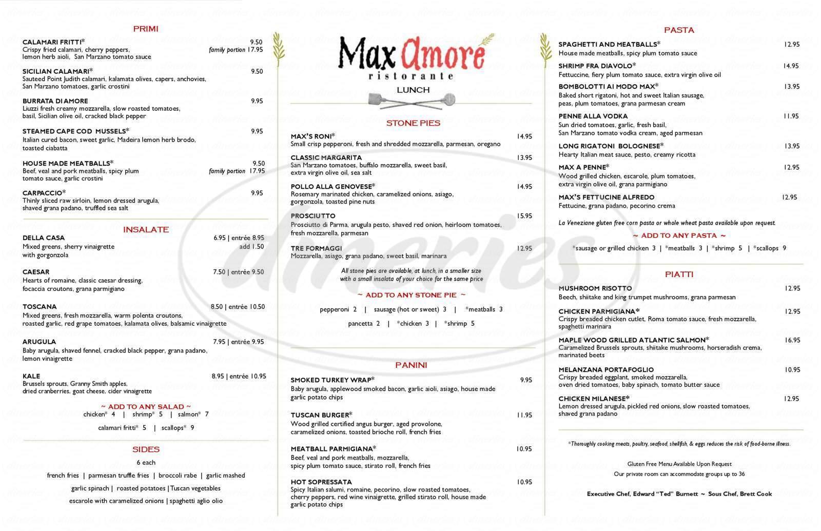 menu for Max Amore