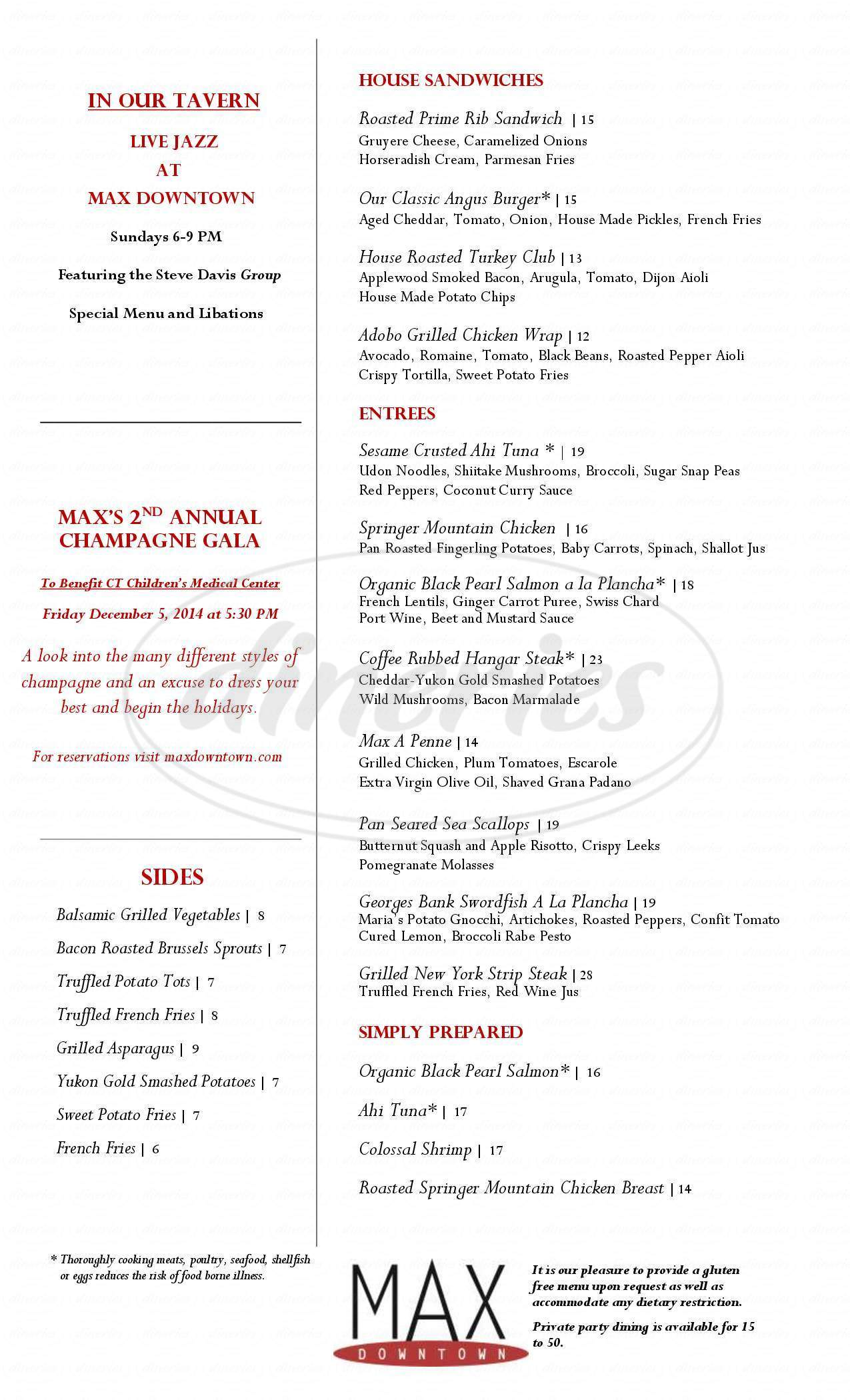 menu for Max Downtown