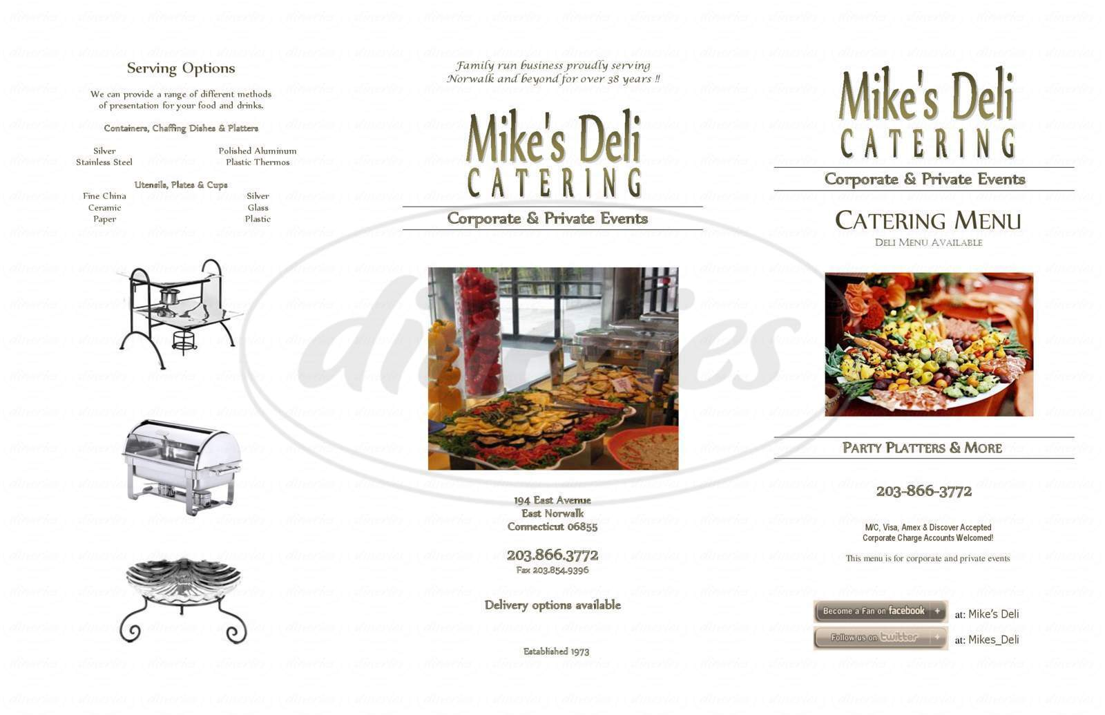 menu for Mike's Deli
