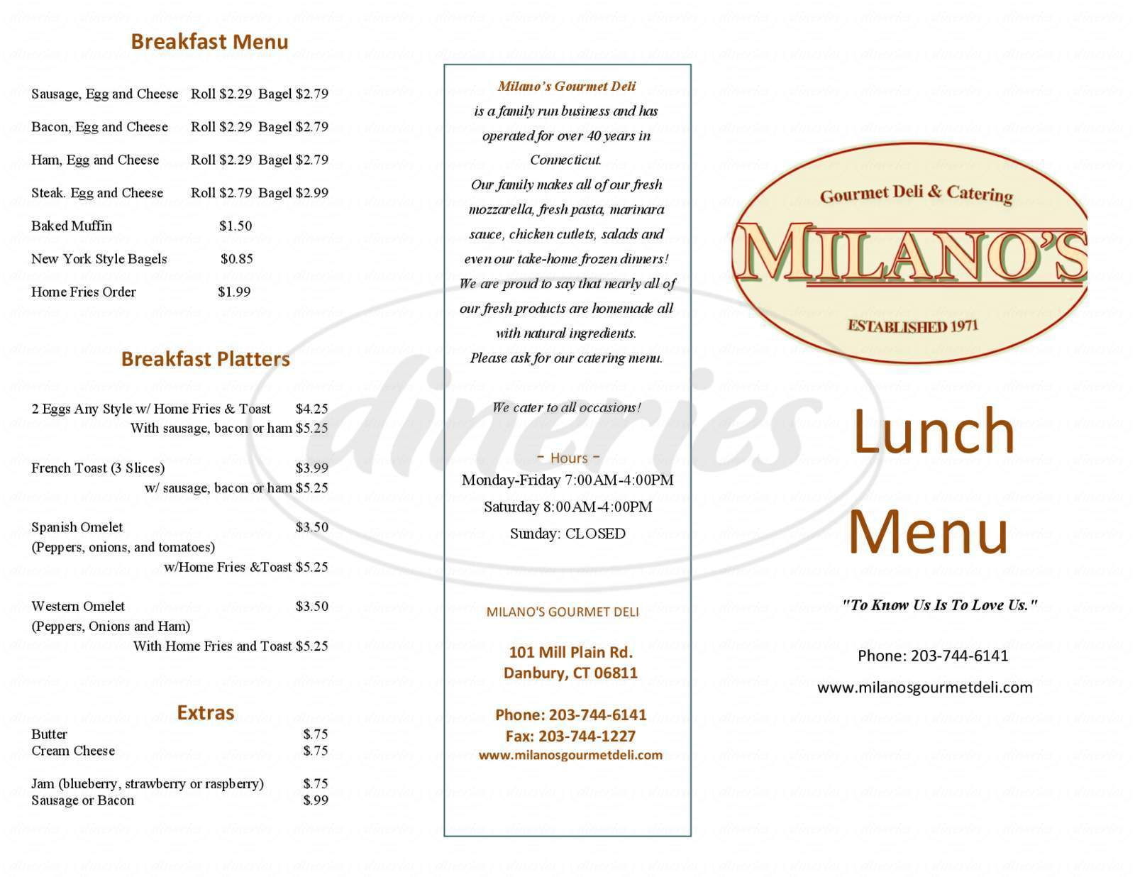 menu for Milano's Gourmet Deli & Catering