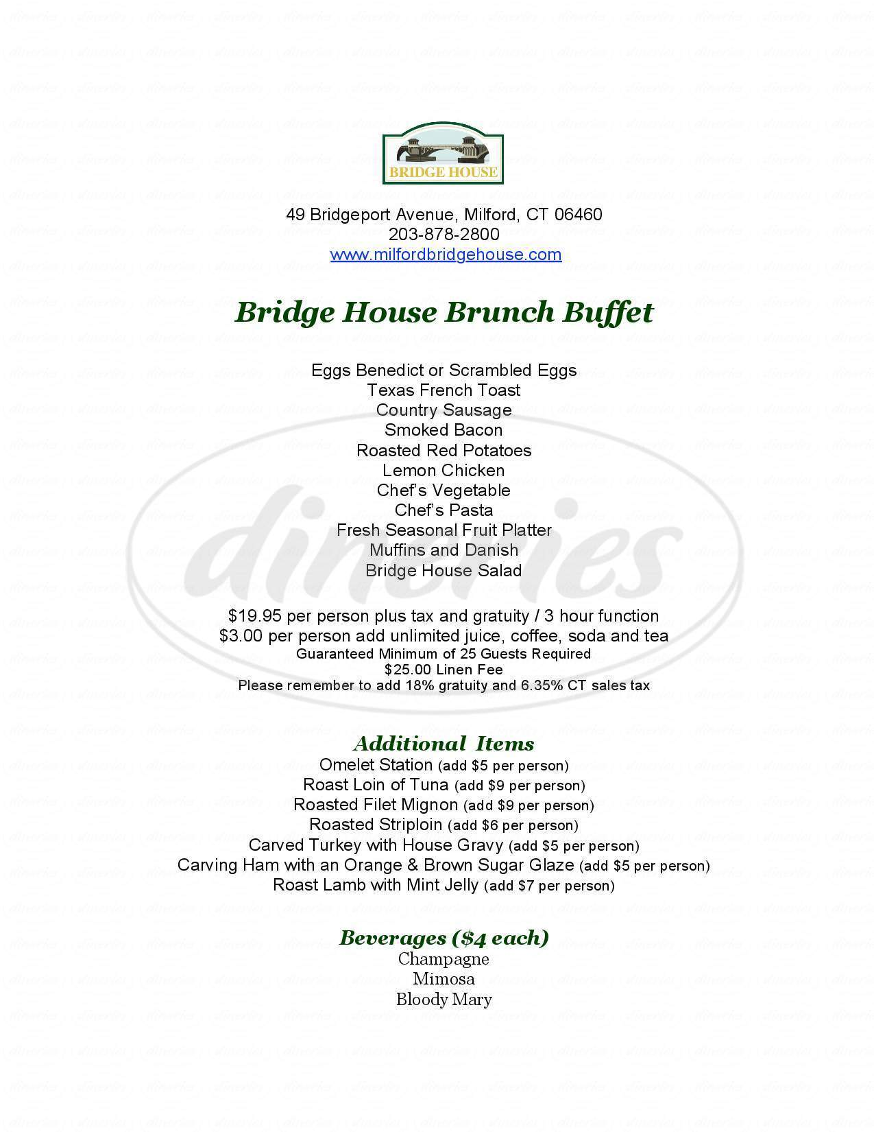 menu for The Bridge House