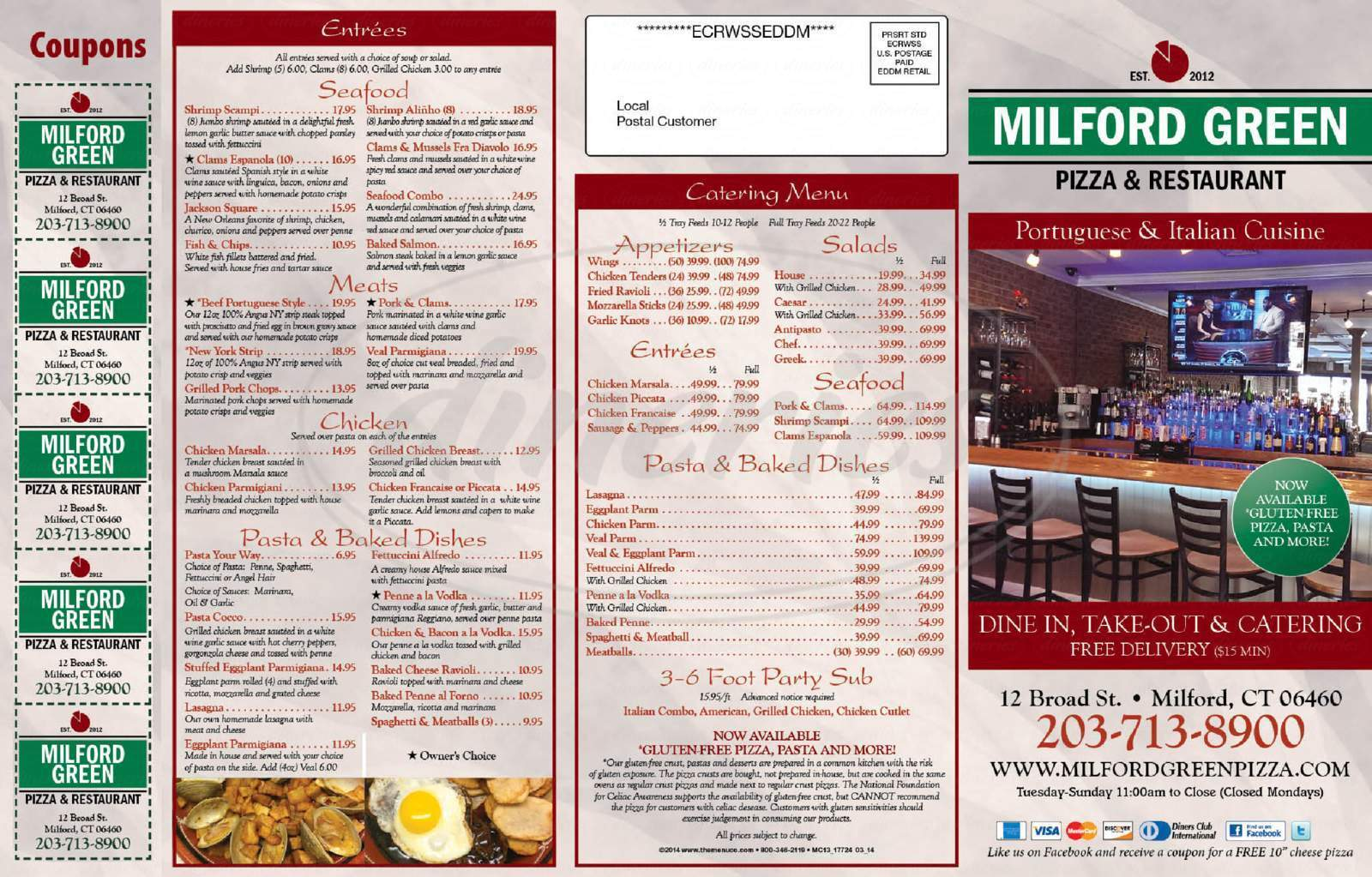 menu for Milford Green Pizza & Restaurant