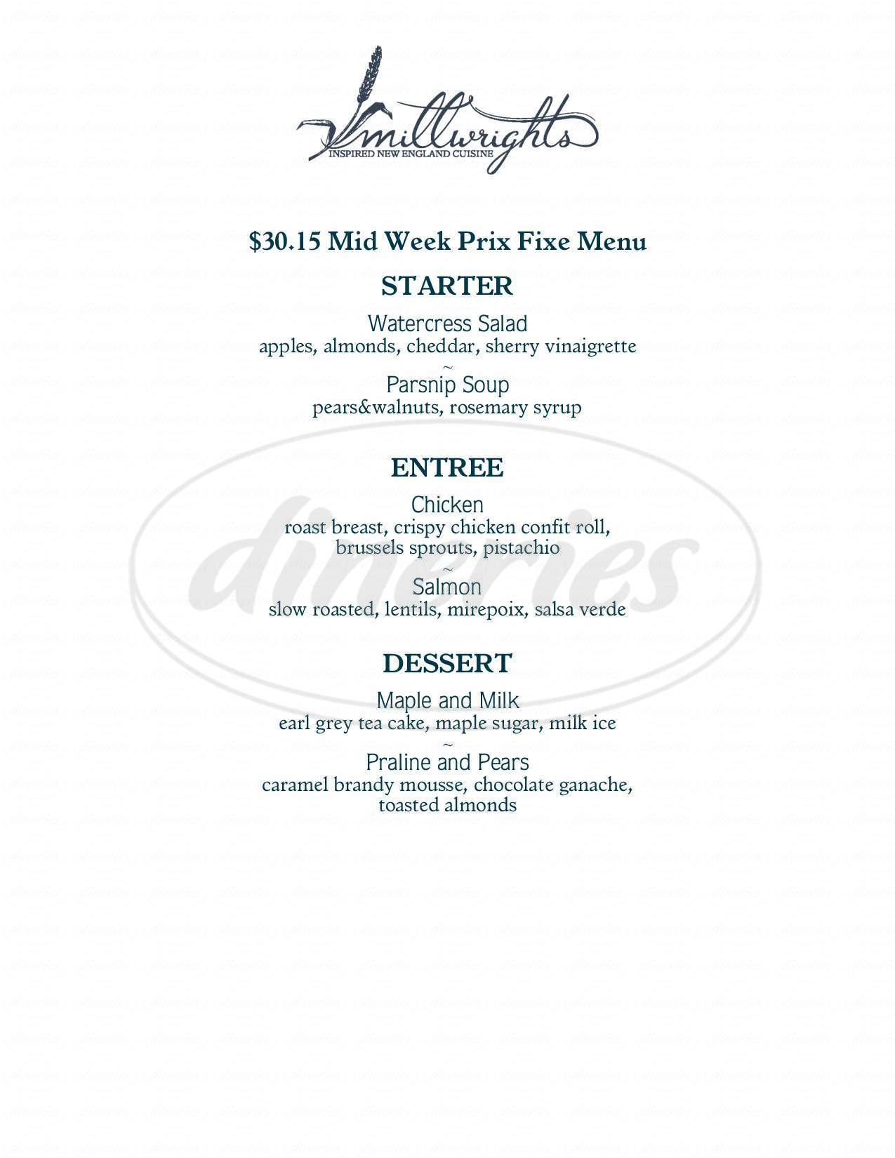 menu for Millwrights