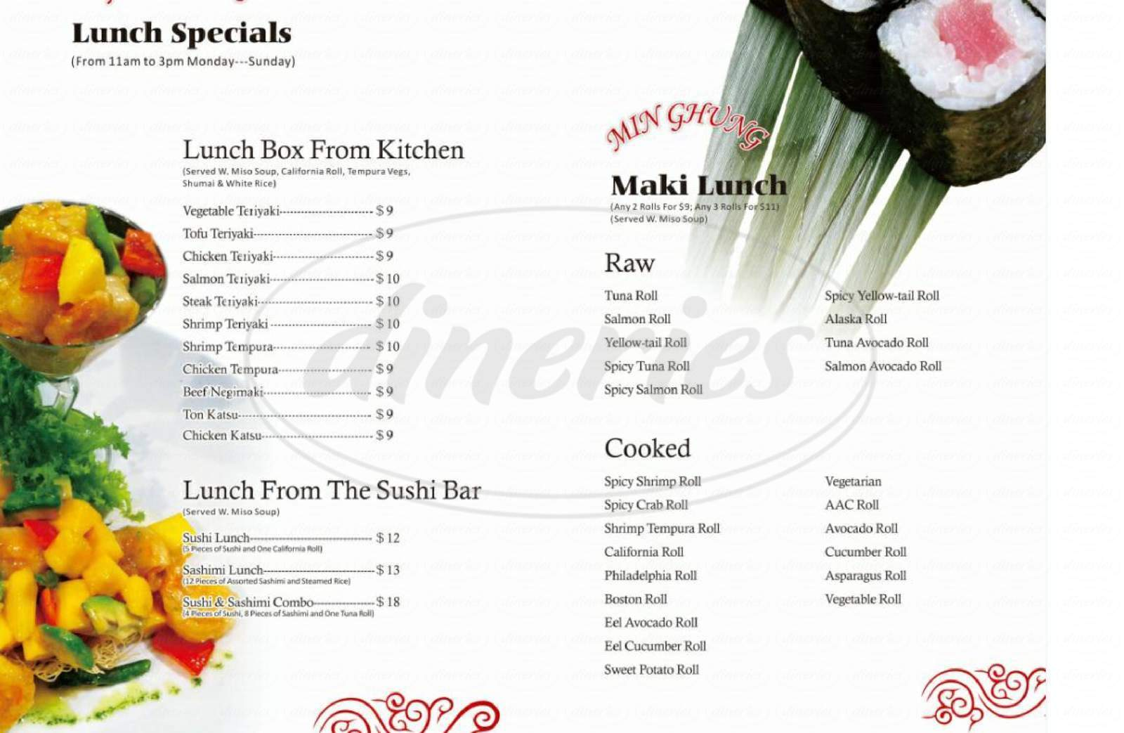 menu for Min Ghung