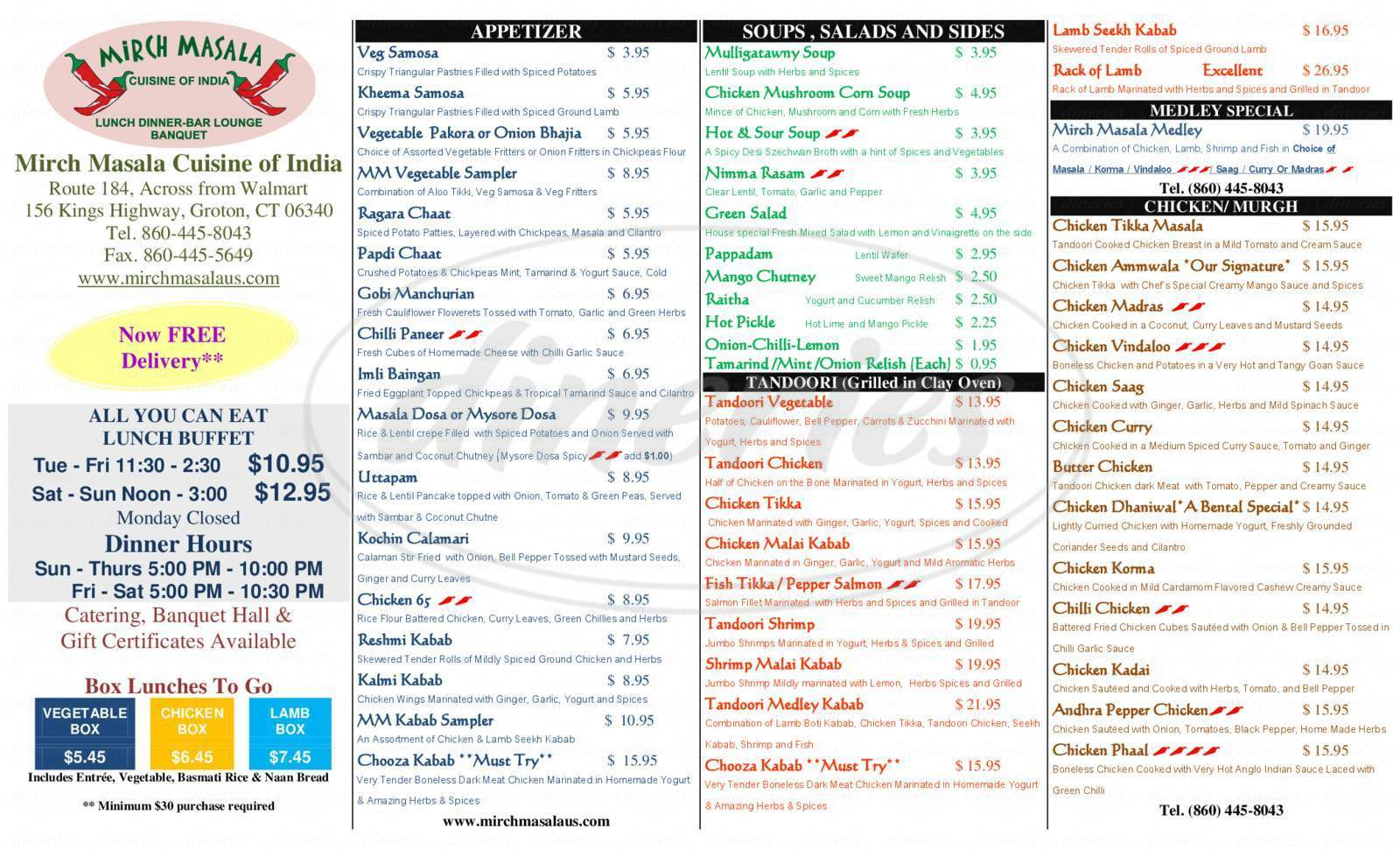 menu for Mirch Masala