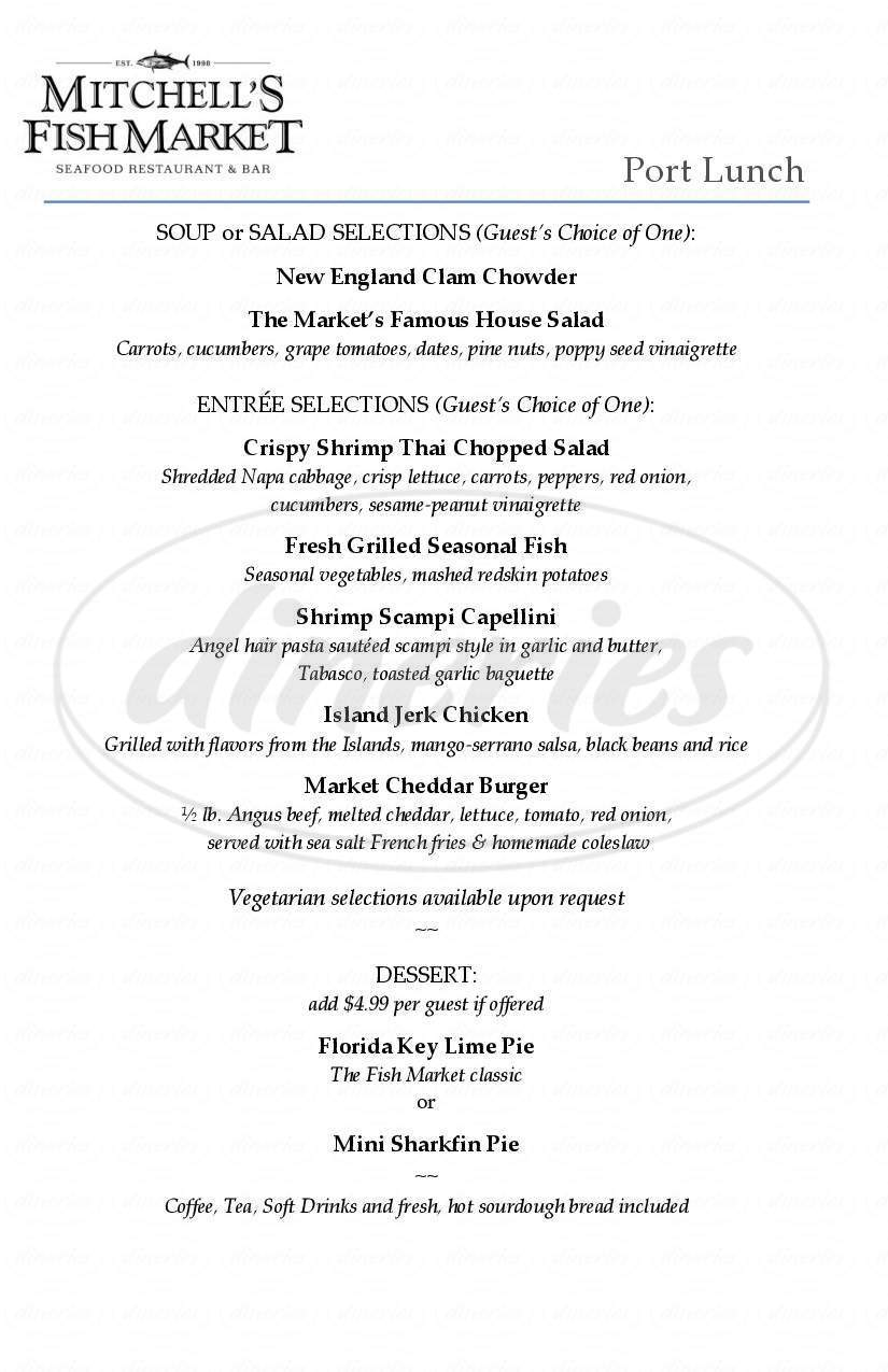 menu for Mitchell's Fish Market
