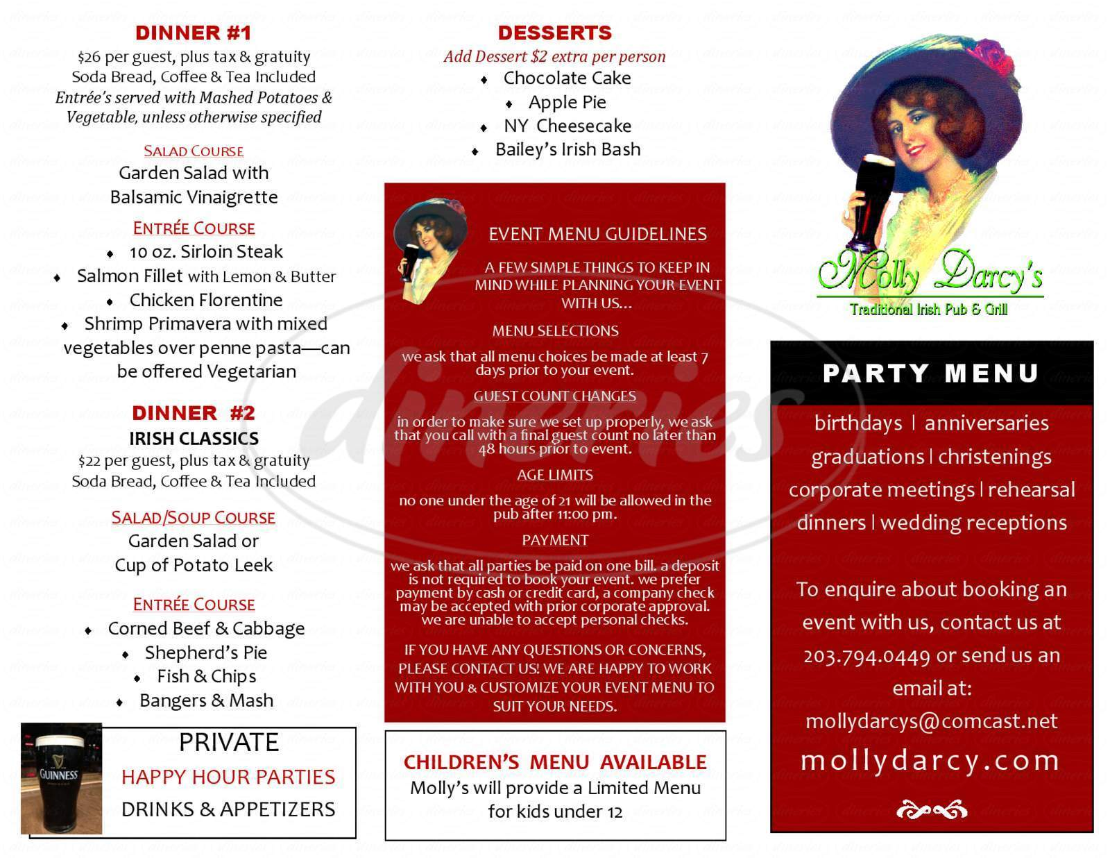 menu for Molly Darcy's Pub