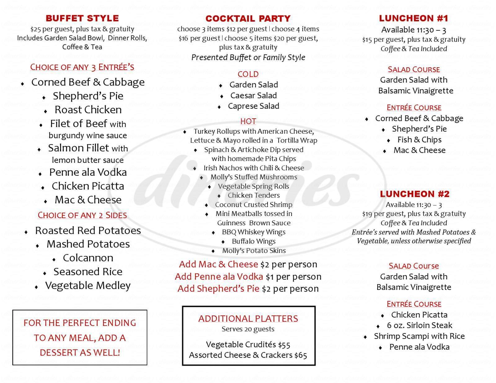 menu for Molly Darcy's Pub