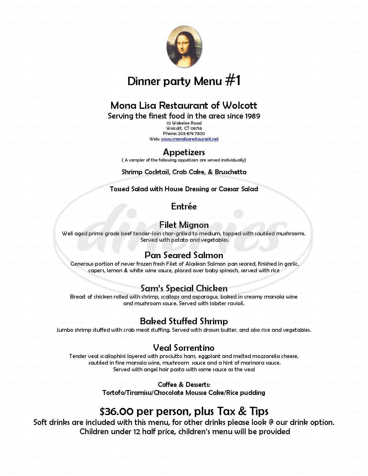 menu for Mona Lisa Restaurant