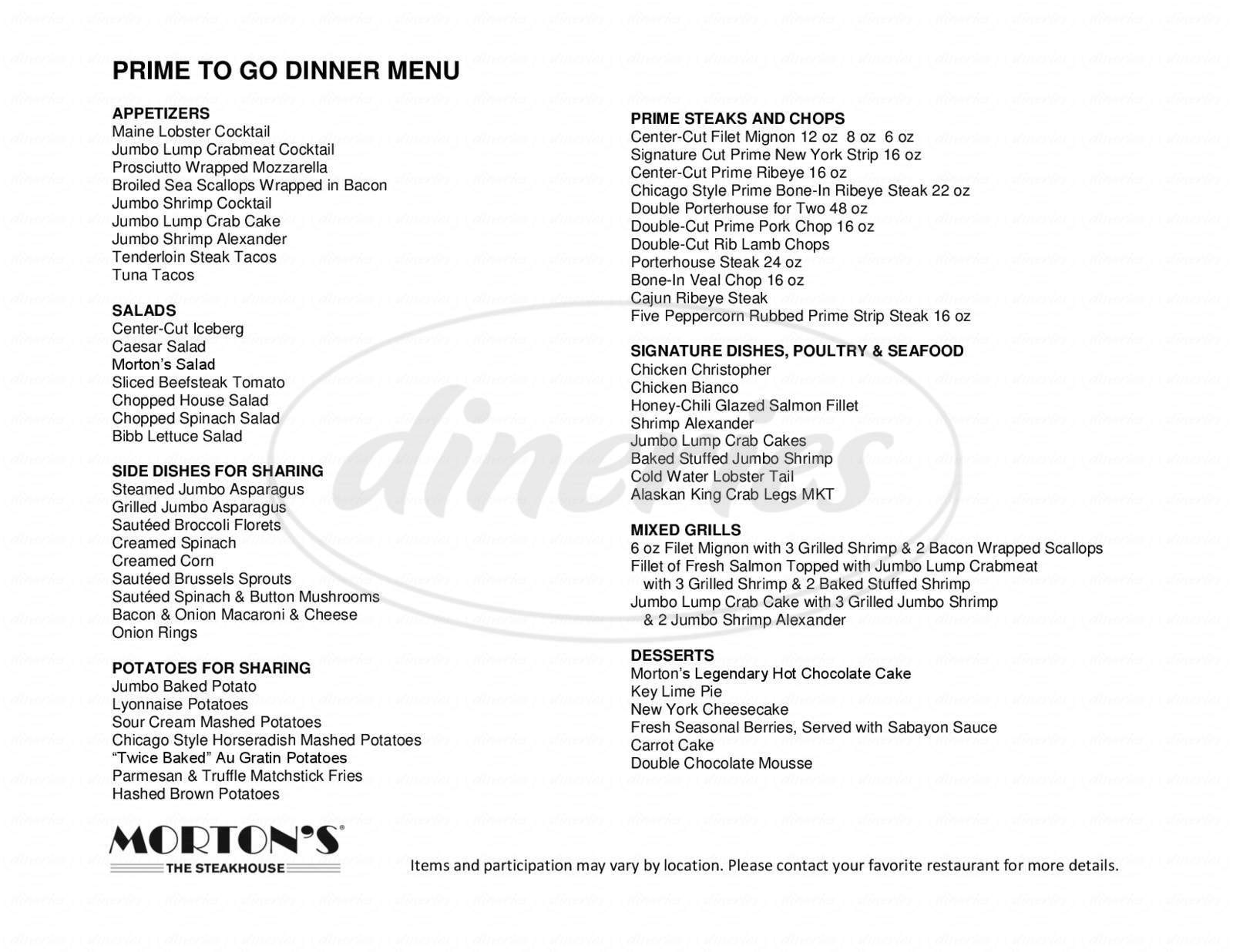 menu for Morton's The Steakhouse