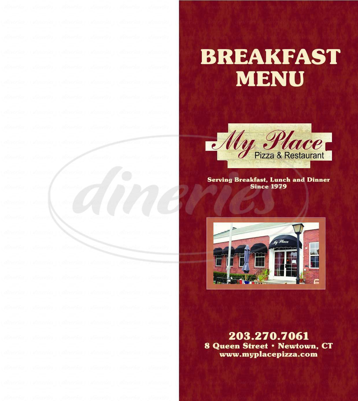 menu for My Place Restaurant