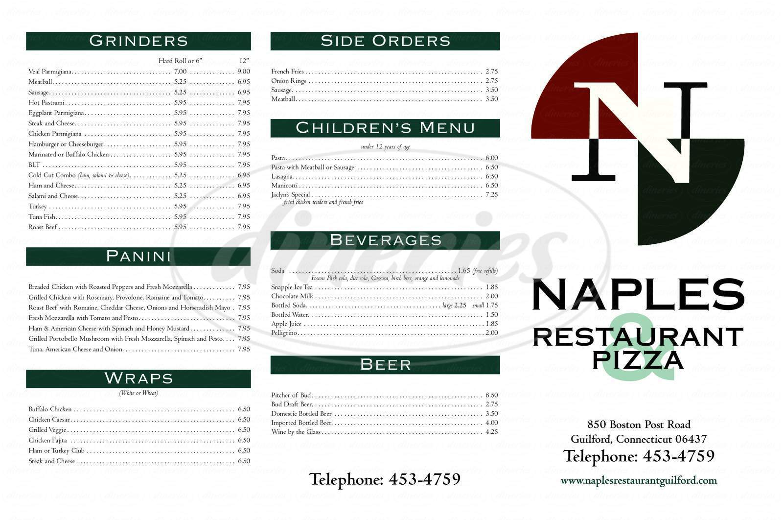 menu for Naples Restaurant & Pizza Inc