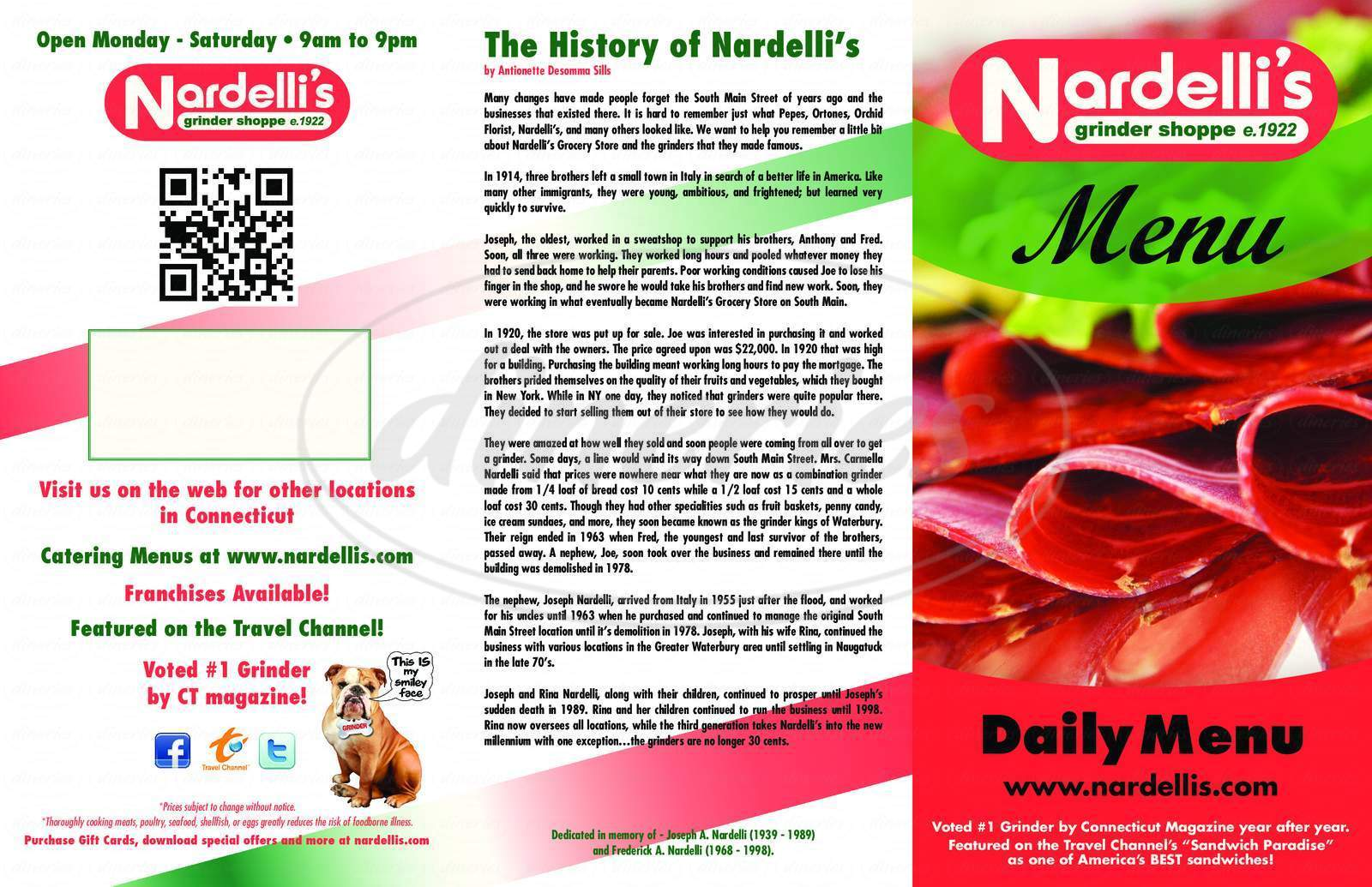 menu for Nardelli's Grinder Shoppe