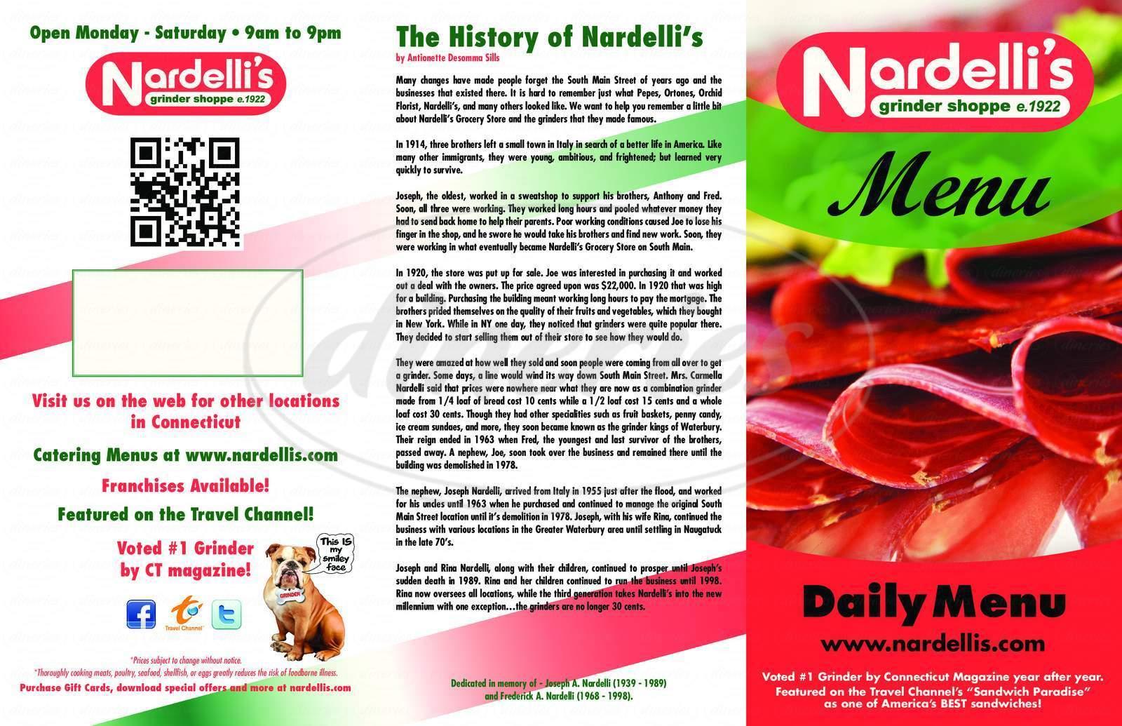 menu for Nardelli's Grinder Shoppe