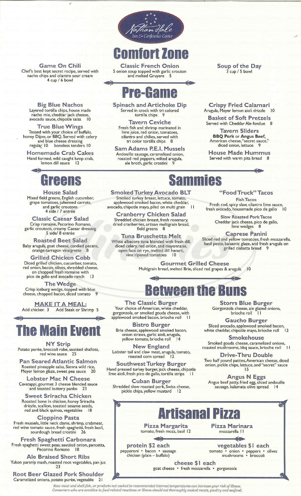 menu for True Blue Tavern