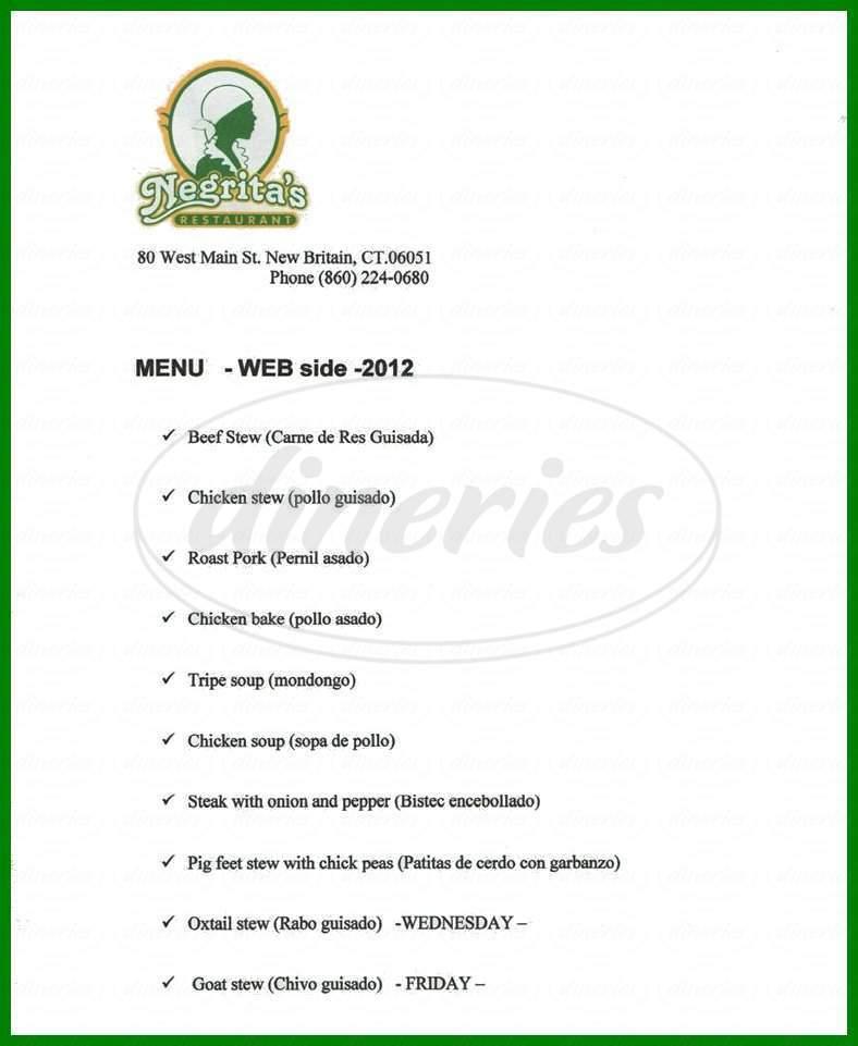 menu for Negrita's Restaurant
