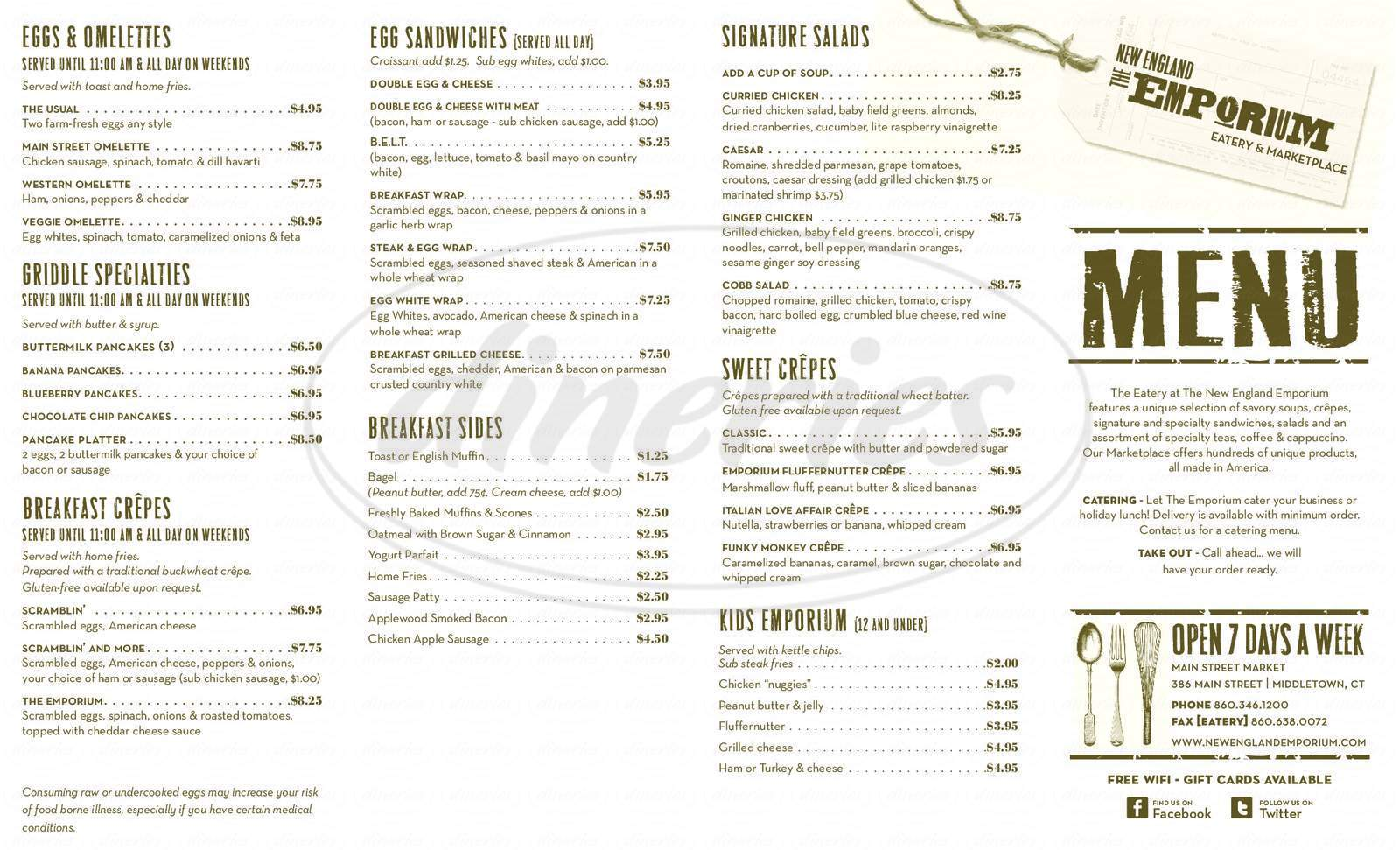 menu for New England Emporium Eatery & Marketplace